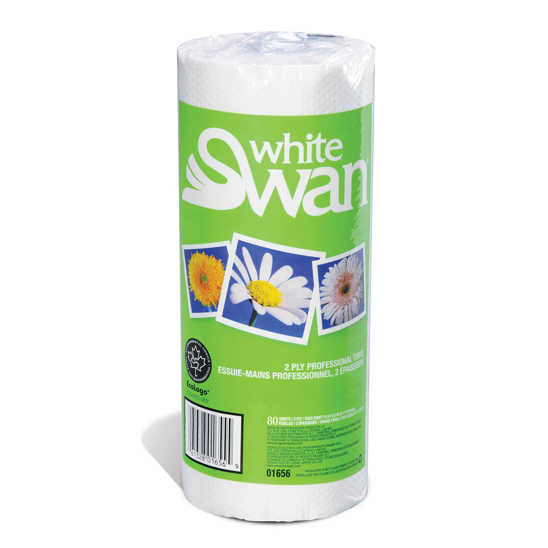 TOWEL KITCHEN ROLL WHITE 2-PLY KRUGER 30/80 10.9X8.6 01656